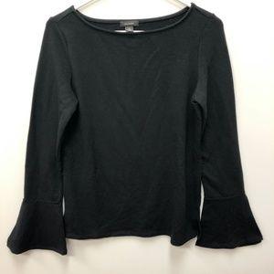 Halogen bell sleeve soft black top Sz M